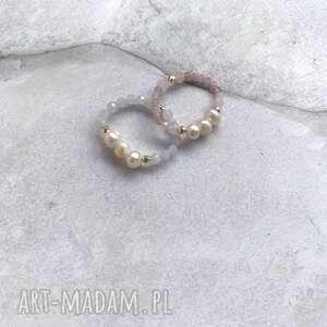 pierścionek - kryształ górski, perły