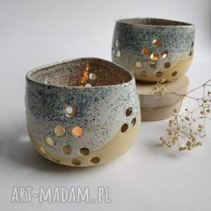 dekoracje zestaw dwóch świeczników 7, świeczniki, ceramika, świecznik, świecznik