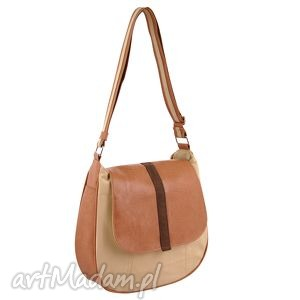 sashka - torebka na ramię beż i brąz, listonoszka, wygodna, praktyczna, miejska