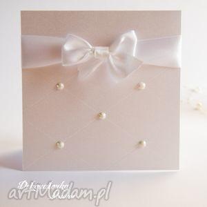 zaproszenia perłowe eleganckie zaproszenie ślubne