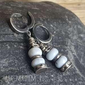 kolczyki kolczyki srebrne z opalami peruwiańskimi