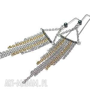Alloys Collection - /frędzle /- kolczyki , stal, szlachetna, pozłacana, łańcuszki