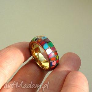 Kolorowa obrączka, stal z polymer clay obrączki foffaa obrączki
