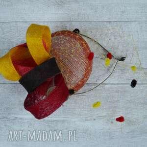 energetyczny toczek, fascynator, pomarańczowy, żółty, czerwony