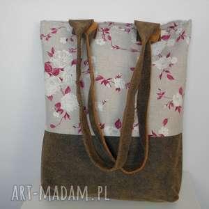 Shopper bag Róże , torba, len, róże, laptop, skóra, bawełna