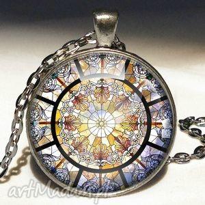 Witraż - Duży medalion z łańcuszkiem, medalion, witraż, prezent, naszyjnik, kaboszon