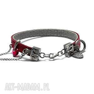handmade strap -ruby heart - bransoletka