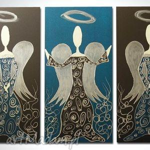 ANIOŁY SZCZĘŚCIA i DOBROBYTU - A9 90x60cm, anioły, anioł, turkusowy, obraz, płótno