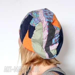 czapka damska patchworkowa, czapka, boho, etno, patchwork, dzianina, sport