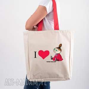 licencjonowana torba xxl muminki z czerwonym i love mała mi, shoperka