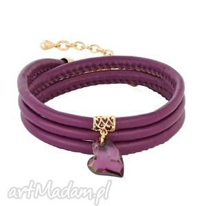 lavoga heather eco leather with crystal heart - serce, wrzos