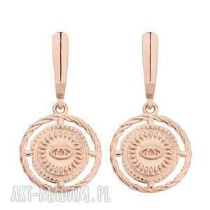 kolczyki z różowego złota oczami, masywne, oczy, medaliony, rosegold, duże