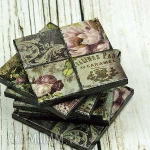 podkładki pod kubki - vintage, róże, damaski, podstawki, drewno, prezent