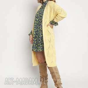 Dzianinowy, ażurowy płaszczyk, pa011 żółty mkm swetry dzianinowy