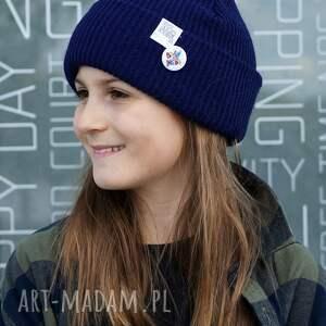 czapki navy blue granatowa czapka dziecięca logo kolor, kids beanie