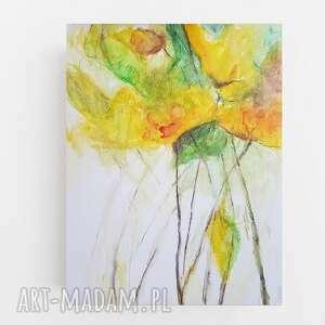 żółte kwiatki-akwarela formatu a4, kwiatki, papier, akwarela