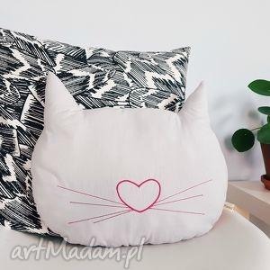 dwustronna podusia kocia główka pink, kot, kotek, cat, poduszka, dwustronna, haft