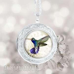 medalion duŻy wisior otwierany z kolibrem na ŁaŃcuszku - sekretnik, medalion