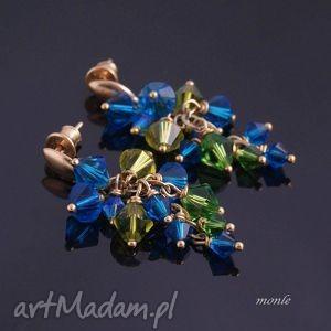 Szmaragd indigo, kolczyki grona - ,kolczyki,grona,pozłacane,srebro,swarovski,