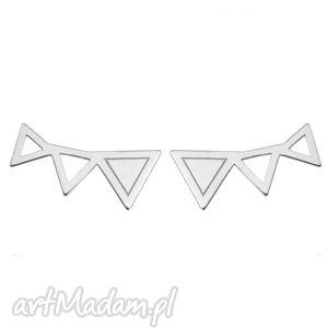 srebrne kolczyki trzy trójkaty sotho - minimalistyczne, wkrętki