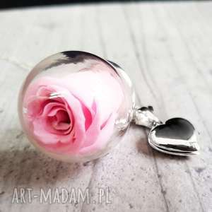 Prezent 925 Srebrny łańcuszek róża wraz z medalionem , róża, medalion, serce