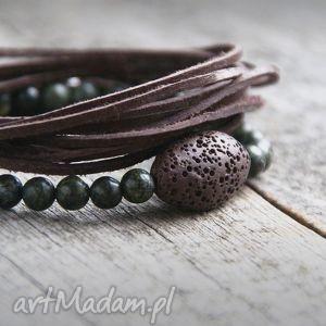 komplet męskich bransoletek brown green, skóra, jaspis biżuteria