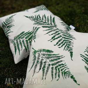 poszewka paproć 50x50 - ,poszewka,poduszka,natura,las,stempel,nadruk,