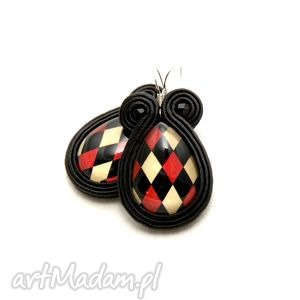 kolczyki sutasz - kratka, soutache, sznurek, czarne, czerwone, beżowe