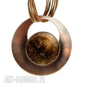 wisiorki naszyjnik miedziany z dużym agatem c819, wisior agat, kamień