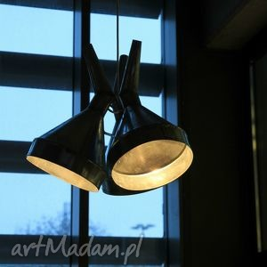 lampa z lejków, loft, modern, ocynk, nowoczesny, lampa, design