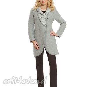 elegancki płaszcz wełniany z ozdobnym kołnierzem - wełniany, wygodny