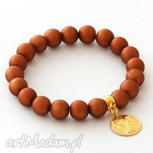Mat glass with coin pendant in caramel. - ,koralik,moneta,