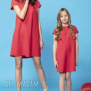 sukienki komplet letnich sukienek z kontrafałdą na plecach, model 32, czerwony