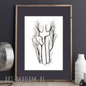 plakat grafika czarno-biała cykl body flowers a4 akt abstrakcja