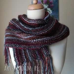 hand-made szaliki w burgundach unisex