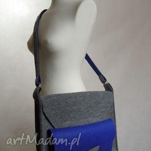 torba na laptopa - szaro-niebieska, filc, kokarda, filcowa, laptop, duża, kokardka