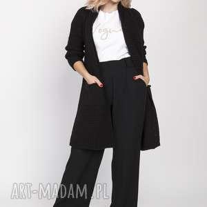 swetry dzianinowy płaszczyk, pa003 czarny mkm, płaszcz, dzianina, jesień