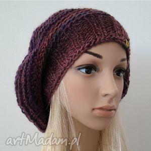 beret we fioletach - beret, czapka, ręcznie, zima, jesień, szydełkiem