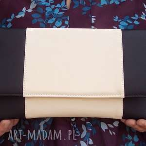 ręcznie robione kopertówka - czarna i środek jasny beż