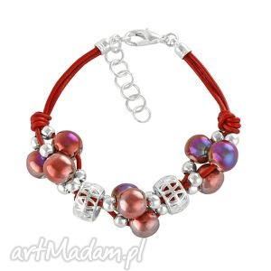 grapes bracelet- petrol bordeaux., ceramika, rzemień