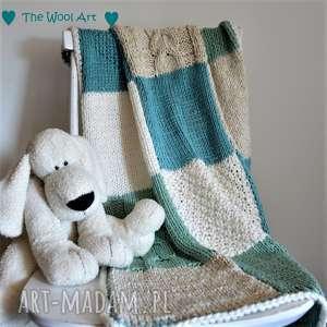 pokoik dziecka dziecięcy kocyk, dzieco, do wózka, na drutach, z bawełny