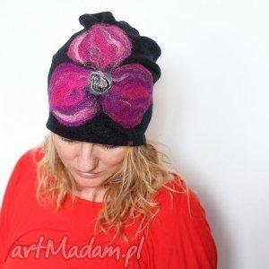 czapka handmade wełniana, wełna, kwiaty, czapka, ludowa, folkowa, zima