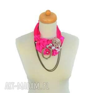 amarant naszyjnik handmade - naszyjnik, kolia, róż, fuksja, amarant