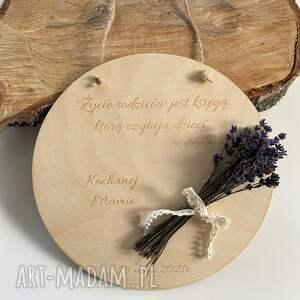 tabliczka z cytatem i bukietem lawendy dzień matki, drewniana zawieszka