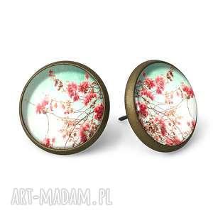 retro kwiaty - kolczyki sztyfty - wkręty, vintage
