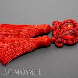 czerwone kolczyki sutasz, sznurek, eleganckie, wiszące, wieczorowe, długie, chwost