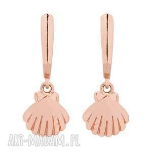 ręcznie robione kolczyki kolczyki z muszelkami z różowego złota