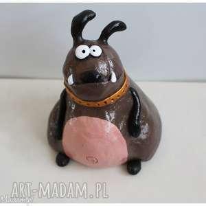 Niesforny buldog, ceramika, pies, buldog