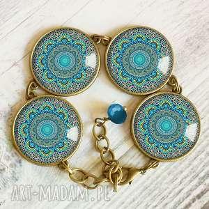 ręcznie zrobione bransoletki turkusowa mandala - bransoletka