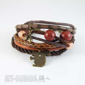 bransoletka - wiewiórka rzemienie, brązowa, ruda, bransoletka, sznurki